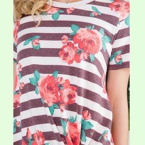 Tops - Striped Floral Knot Top